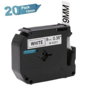 M k221 Compatible For Brother P touch Pt 65 Label Maker 9mm Label Tape 20pk
