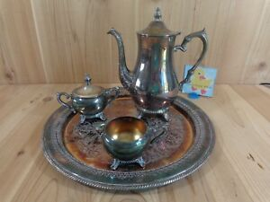 Wm Rogers Silver Plated Tea Set 4 Pieces 162 Tray Teapot Sugar Creamer Lid