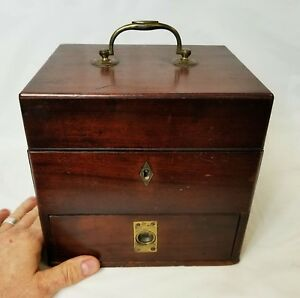 Antique Apothecary Pharmacist Physician Drug Walnut Wood Case With Bottles