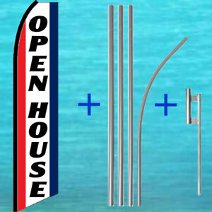 Open House Flutter Flag Pole Mount Kit Tall Curved Feather Swooper Banner Sign