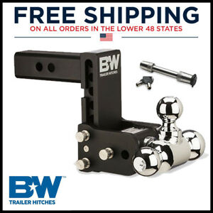 Ts10048b B w 5 Drop Tow Stow Tri Ball Mount For 2 Receiver Hitch W lock