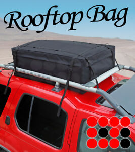 05 14 Jeep Blk Roof Top Luggage Storage Carrier Water Resistant Side Rail Bag