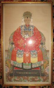 Antique Chinese Ancestor Portrait In Beautiful Robe Dragons In Gold Jade Pearls
