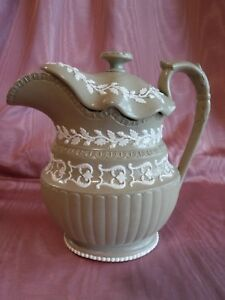 Antique Imperial Drabware Stoneware Large Pitcher Jug With Lid Oak Leaves Acorns
