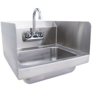 Kitchen Bathroom Nsf Stainless Steel Hand Washing Sink With Faucet Silver Us