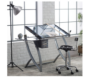 Adjustable Drafting Table Artist Glass Professional Drawing Hobby Craft Desk