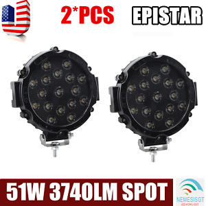2x Offroad 7inch 51w Led Work Lights Spot Truck Backup Driving Round Slim Black
