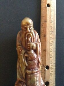 Very Fine Antique Hand Carved Shoushan Stone God Of Immortality Seal Chop