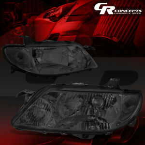 Left Right Smoked Housing Clear Corner Headlight Lamp For 01 03 Mazda Protege