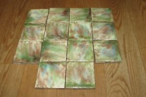 14 Vintage Antique 3 X 3 Glazed Green Brown White Blue Fireplace Tile 1229