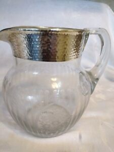 Silver Rim And Etched Elegant Glass Water Pitcher