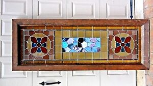 Antique Large Rectangular Leaded Stained Glass Window 2 Round Medallions 68 H