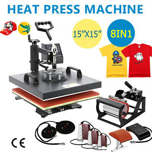 8in1 Heat Press Machine Swing Away Digital Sublimation T shirt Mug Plate Hat Qy