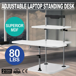 3 Tier Adjustable Computer Standing Desk Easy Install Double Poles Stand Up