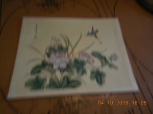 Antique Chinese Water Color Painting Of Bird And Flowers C1900 Signed