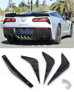 Eos Body Kit Painted Black Rear Bumper Air Diffuser Fin For 14 Up Corvette C7