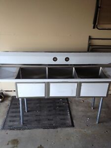 90 Stainless Steel 3 Compartment Sink With Drain Boatds Nsf Certified