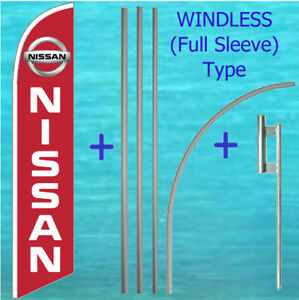 Nissan Windless Feather Flag Pole Mount Kit Tall Curved Swooper Banner