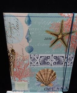 Monthly Planner Punctuate 2018 Aqua Seashell Sewn 18 Month Calendar Lot Of 9