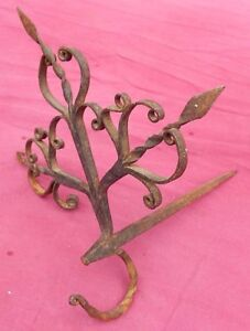 Rare Antique Fancy Complex 18th C Beam Fat Betty Lamp Mantle Wrought Iron Hook