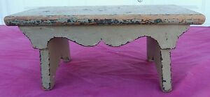 Antique Sage Green Primitive Foot Stool Nice Cut Outs