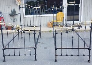 Antique Brass Iron Twin Beds Or King Size Great Ready To Go Condition Nice