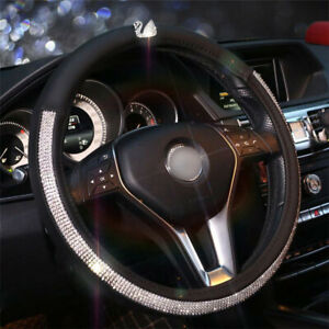 Car Steering Wheel Cover 38cm Rhinestone Swan For Girls Ladies Pu Leather Bling