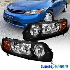 For 2006 2011 Honda Civic Coupe 2dr Headlights Head Lamps Black Replacement Pair