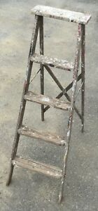 Old Vtg Antique Painter S Wood Step Ladder A Frame Folding 4 Foot Tool Repurpose
