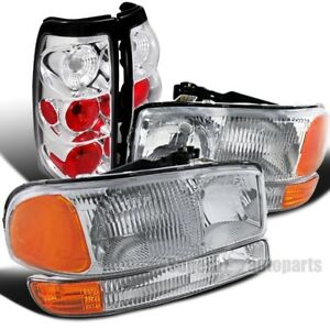 1999 2003 Sierra 1500 2500 3500 Chrome Headlights Bumper Signal Lamps Tail Lamps