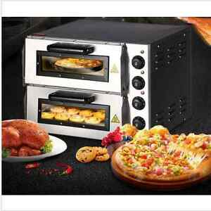 Double Electric Pizza Oven Commercial Ceramic Stone Bi New 220v 16