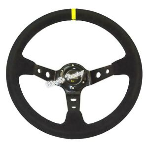 350mm Black Suede Leather Corsica Style Deep Dish Car Racing Steering Wheel Us