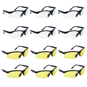 12 Pack Of Sas Sidewinder Safety Glasses Black Frame Clear Or Yellow Lens