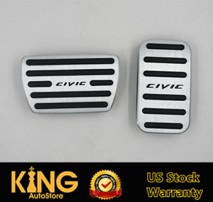 No Drill Car Fuel Brake Foot Pedals Covers Kit Automatic Pedal For Honda Civic