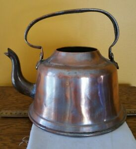 Lrg Antique Copper Tea Kettle Pot Turkey Vintage Primitive Rustic Decor Display