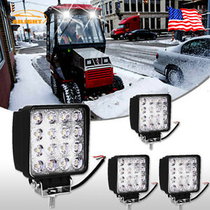 Snow Blower thrower Universal 4 Square Led Light Bar Flood 4pcs Super Bright