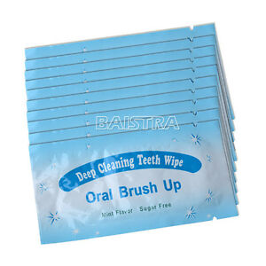 500 Pcs Dental Oral Care Brush Up Wipe Deep Cleaning Teeth Whitening Wipes Mint