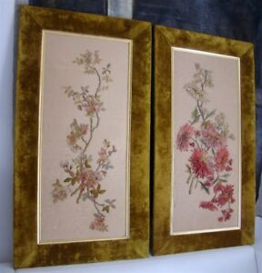 2 French Antique Silk Embroidery Ribbon Work Bou Sister New York Paris