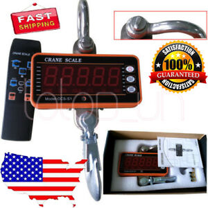 1000kg 2000 Lbs 1ton Digital Crane Scale Heavy Duty Hanging Scale W Lcd Display