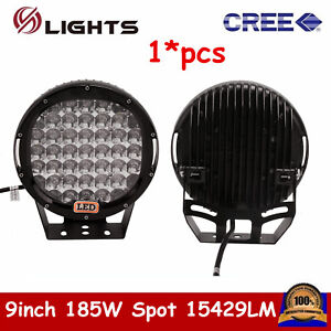 9inch 185w Cree Led Round Work Light Spot Off road Fog 4wd Ute Jeep Ford Black