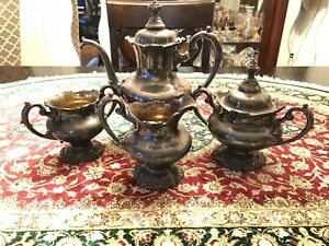 4pices Antique 3700 Silver Plate Tea And Coffee Set