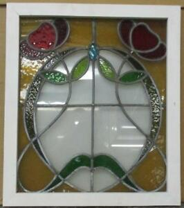 Mid Sized Old English Leaded Stained Glass Window Great Floral 20 25 X 23 5