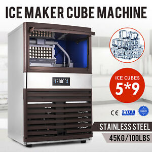 45kg 100lbs Intelligent Ice Cube Making Machine Auto Clean Ice cream Canteens