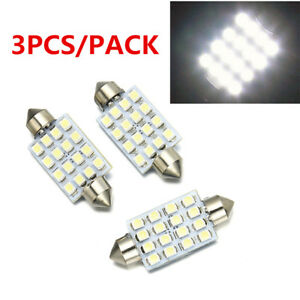3pcs 42mm 16smd Car White Led Light Bulb Festoon Dome Map Interior Cargo 211 578