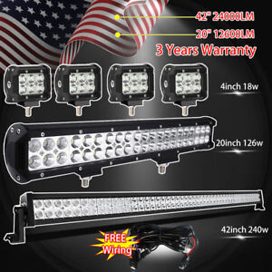 42inch Led Off Road Light Bar Combo 20 4 Cree Pods Suv 4wd Ute Ford Jeep 40