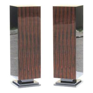 Monumental Pair Of French Art Deco Exotic Macassar Ebony Pedestals 1940s
