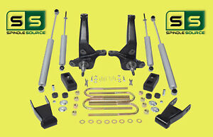 2001 2010 Ford Ranger 2wd 4 3 Lift Kit Spindles Blocks Shackles 4 Shocks