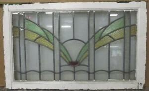 Large Old English Leaded Stained Glass Window Pretty Abstract Spread 32 5 X 20