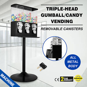 Triple Bulk Candy Vending Machine Candy Triple Dispenser Removable Canisters