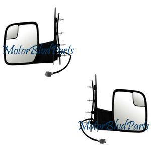 Fit 10 12 Ford Econoline Van Mirrors W Insert Convex Lens Power Left Right Set